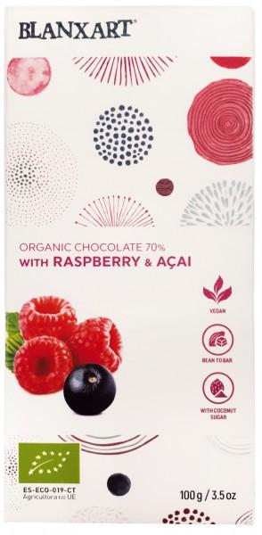 Organic chocolate 70 % with Raspberry & Acai