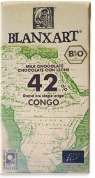 Chocolate ecológico con leche Grand Cru single origin Congo 42% Bio-Milchschokolade aus Fair-Trad