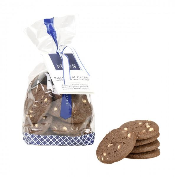 Biscotti al Cacao e Gocce di Cioccolato Bianco