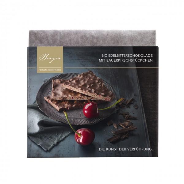 Bio Edelbitterschokolade mit Sauerkirschstückchen