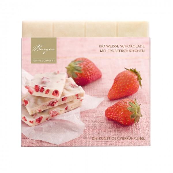 Weiße Bio-Schokolade mit Erdbeerstückchen