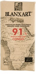 Chocolate ecológico negro Gran Cru single origin Congo 91%