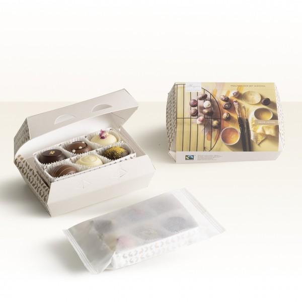 12er-Pralinen-Eierkartonbox mit Alkohol