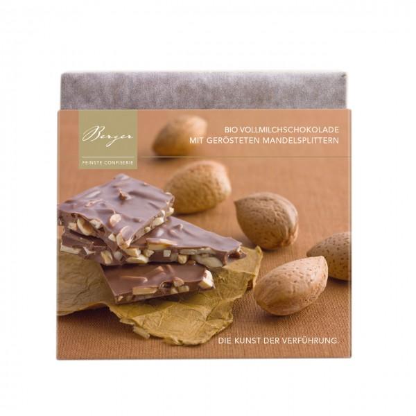 Bio-Vollmilchschokolade mit gerösteten Mandelsplittern