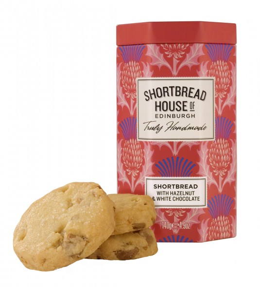 Shortbread Biscuits Octagonal Tins with white chocolate and hazelnut