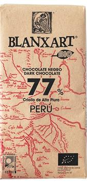 Chocolate ecológico negro 77% Criollo de Alta Piura, Perú