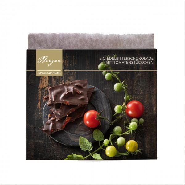 Bio Edelbitterschokolade mit Tomatenstückchen