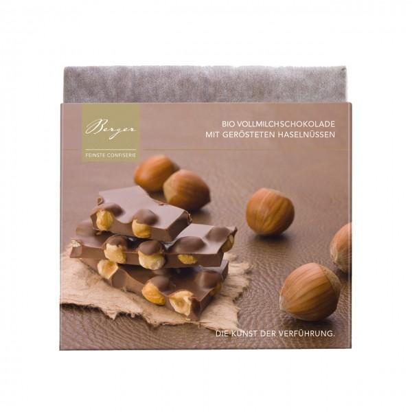 Bio-Vollmilchschokolade mit gerösteten Haselnüssen