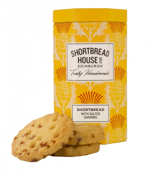 Shortbread Biscuits Octagonal Tins with Salted Caramel